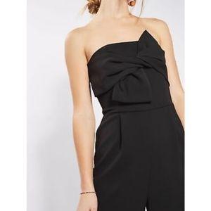 Topshop Black Jumpsuit w/ Front Bow & Back Cutout